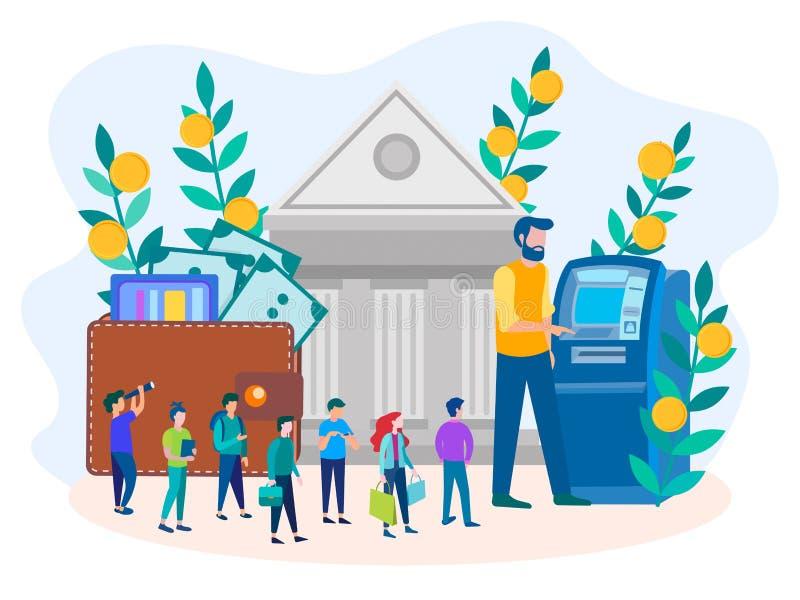 Wektorowa ilustracja pojęcie dostawanie fundusze przez ATM i banka royalty ilustracja