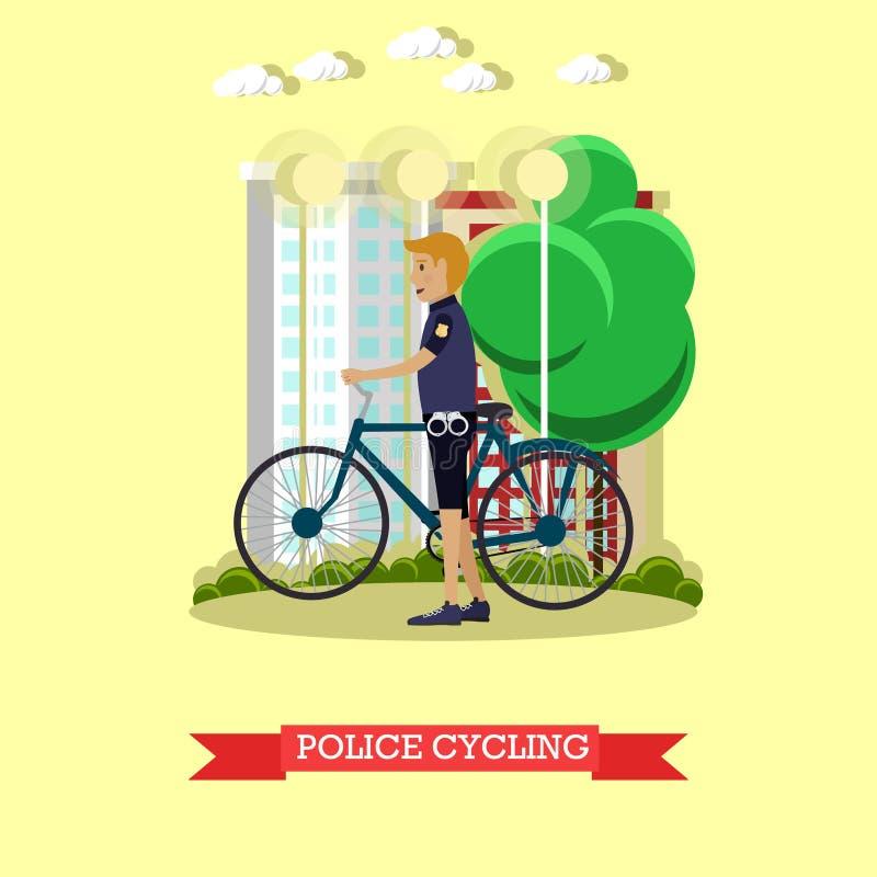 Wektorowa ilustracja policjant z miasto bicyklem w mieszkanie stylu ilustracji