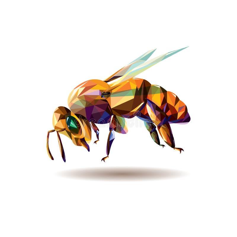 Wektorowa ilustracja poligonalna pszczoła - ilustracja zdjęcia stock