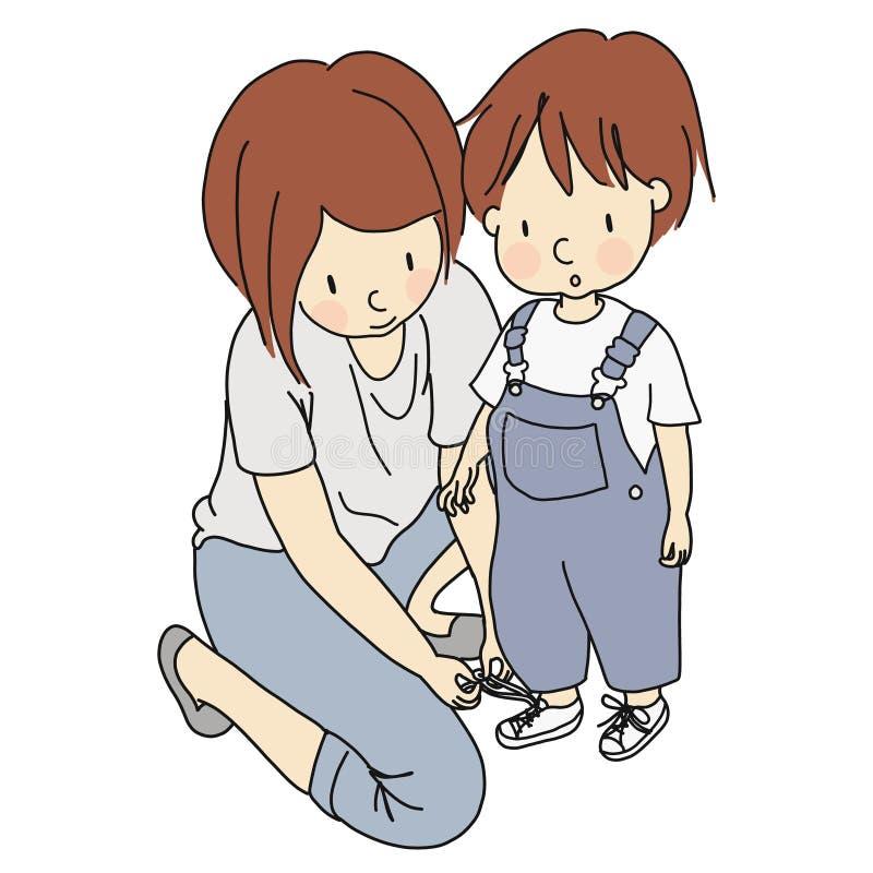 Wektorowa ilustracja pomaga ślicznego małego dziecka wiązać shoelaces matka ilustracja wektor