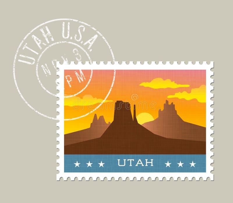 Wektorowa ilustracja pomnikowa dolina przy zmierzchem, Utah royalty ilustracja