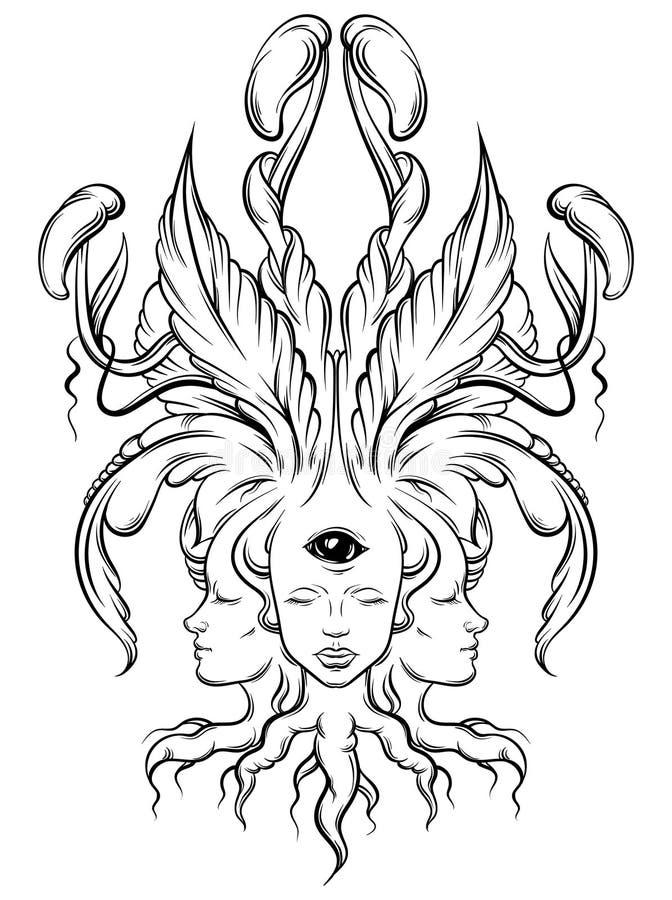 Wektorowa ilustracja pomyślność narrator z trzy głowami, oczy royalty ilustracja