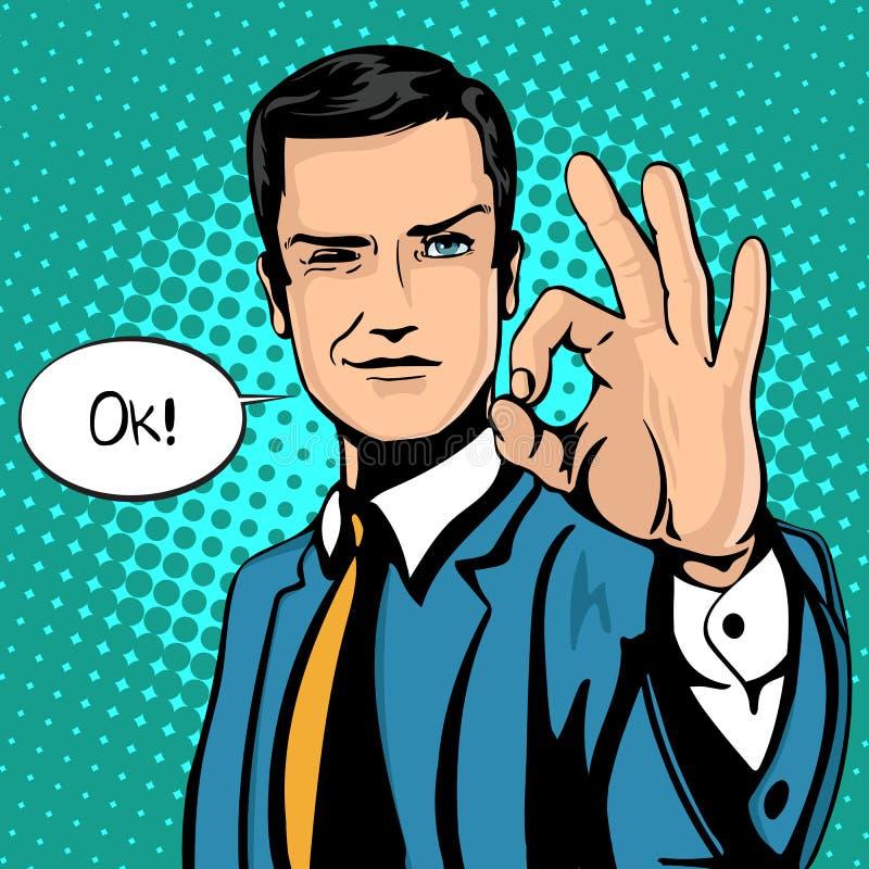 Wektorowa ilustracja pomyślny biznesmen daje ok w rocznika wystrzału sztuki komiczek stylu Podobieństwa i pozytywny odczucie gest ilustracja wektor