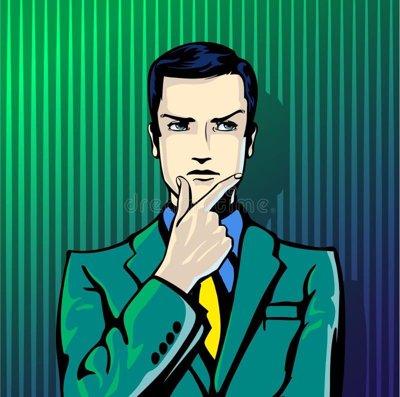 Wektorowa ilustracja pomyślny biznesmen myśleć w rocznika wystrzału sztuki komiczek stylu Podobieństwa i pozytywny odczucie gest ilustracji