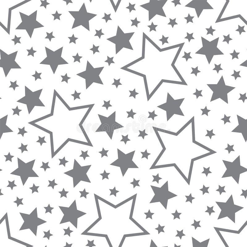 Wektorowa ilustracja popielate pięcioramienne gwiazdy na białym tle ilustracja wektor