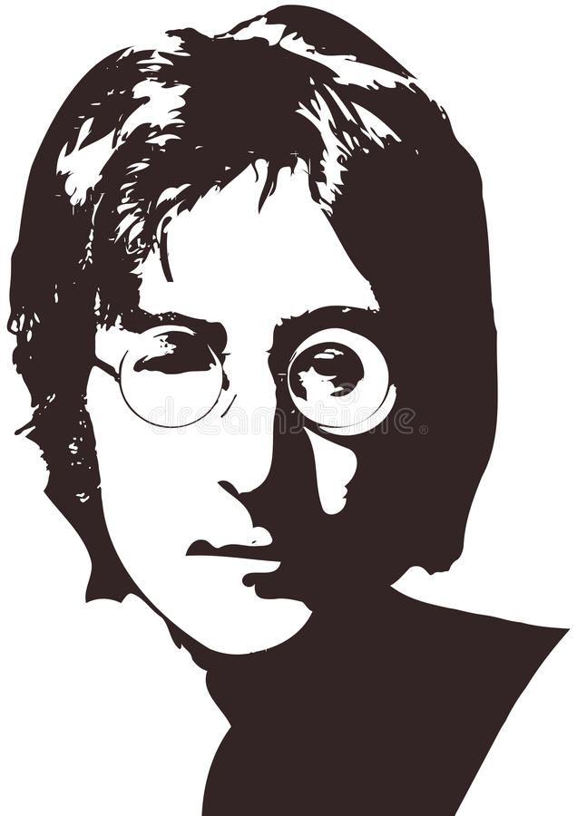 Wektorowa ilustracja portret piosenkarz John Lennon na białym tle A4 format, Eps 10 na warstwach royalty ilustracja