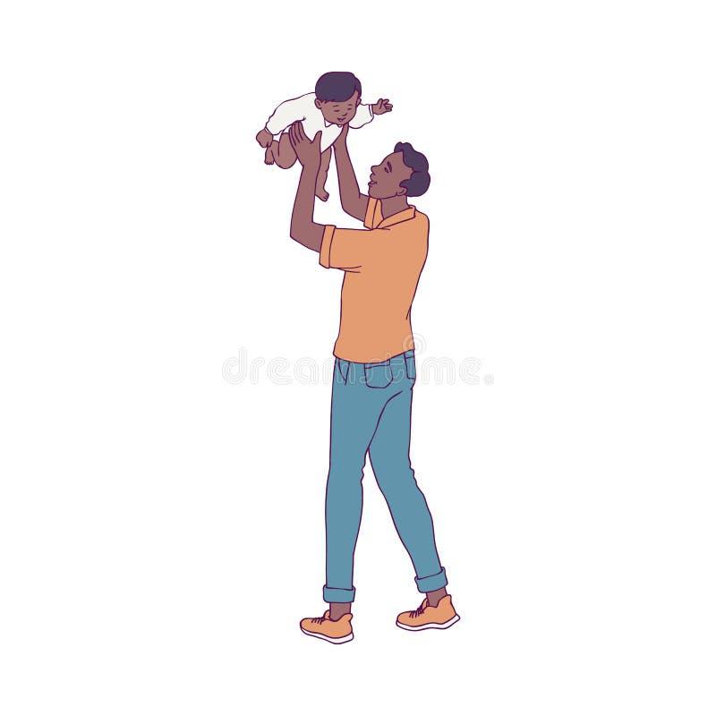 Wektorowa ilustracja potomstwa ojcuje bawić się z jego małym dzieckiem odizolowywającym na białym tle ilustracji