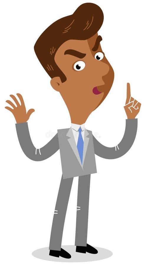 Wektorowa ilustracja poważny przyglądający azjatykci kreskówka biznesmen z ostrzeżenie gestem ilustracja wektor