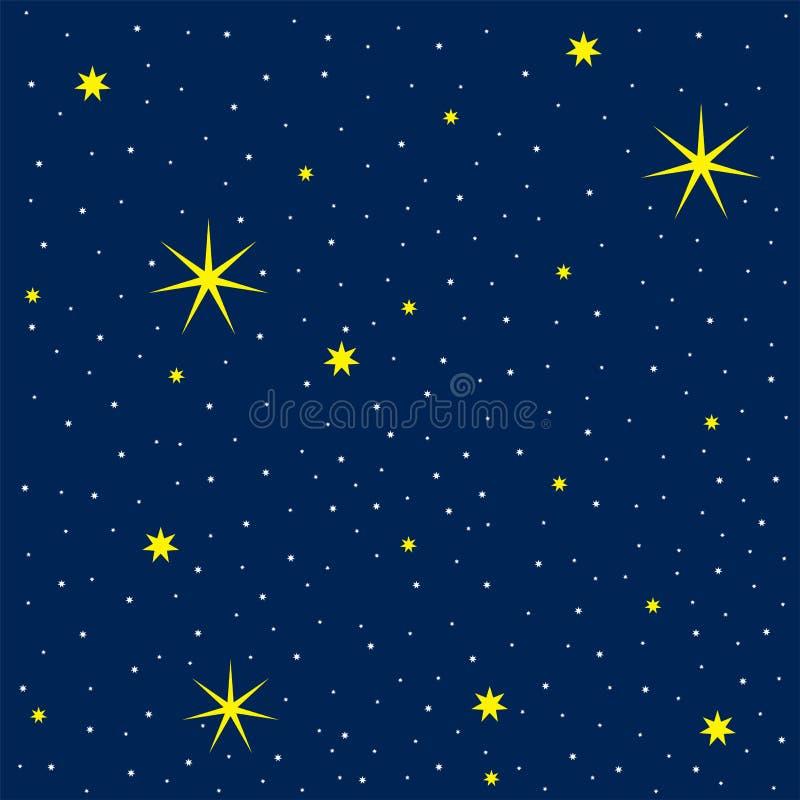 Wektorowa ilustracja pozaziemski niebo z wiele jaskrawymi gwiazdami ilustracji
