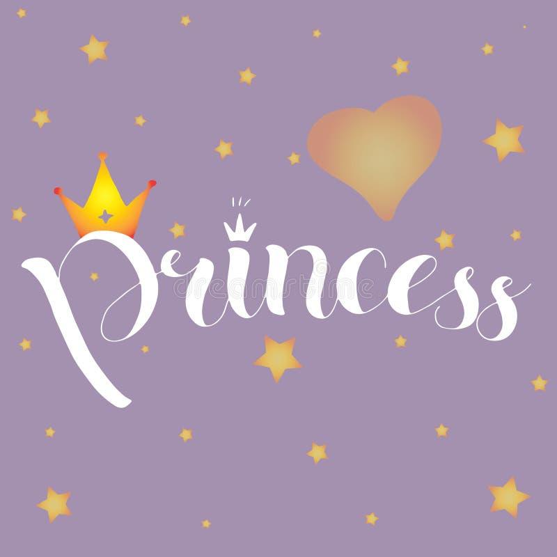 Wektorowa ilustracja Princess tekst dla dziewczyn ubrań z miejscem dla imienia, Królewska odznaka, karta, pocztówka, etykietka, i fotografia stock