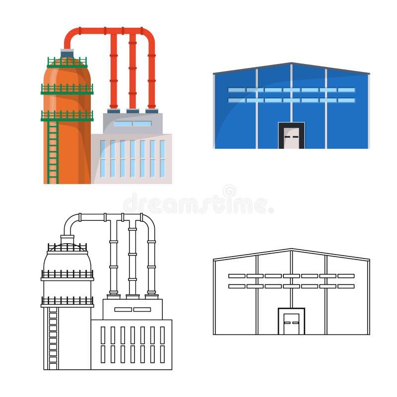 Wektorowa ilustracja produkcji i struktury ikona Kolekcja produkcji i technologii akcyjny symbol dla sieci royalty ilustracja