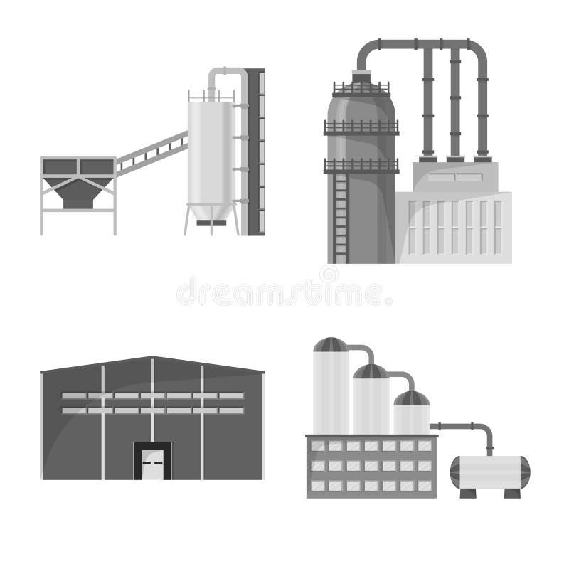 Wektorowa ilustracja produkcji i struktury logo Kolekcja produkcji i technologii wektorowa ikona dla zapasu ilustracja wektor