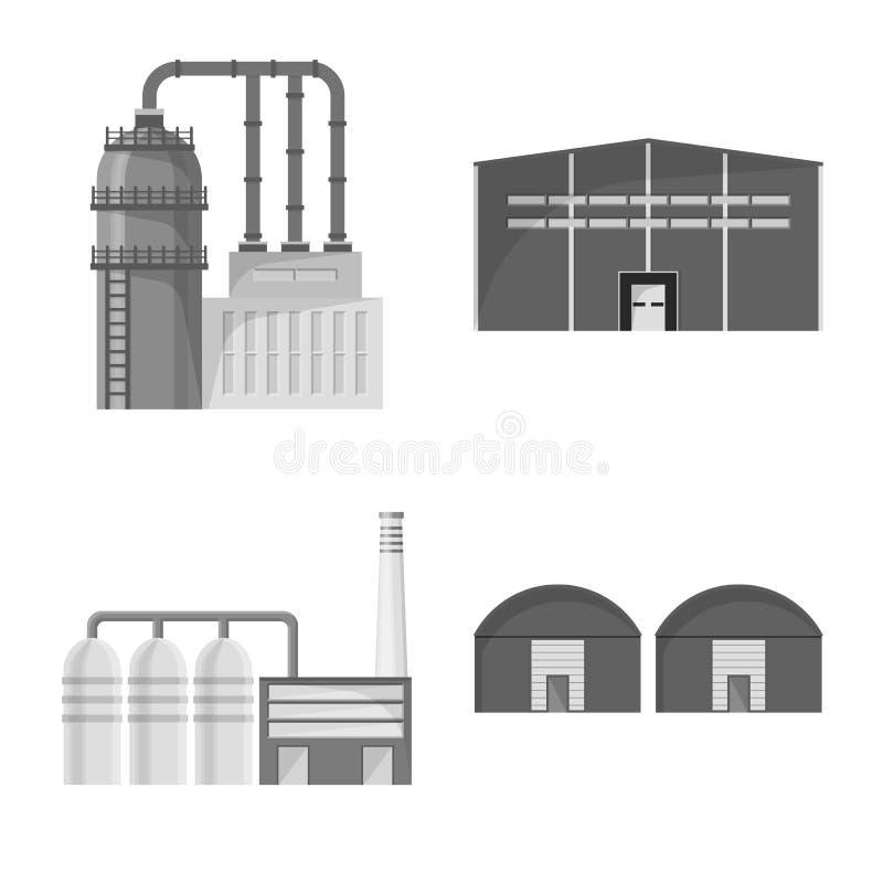 Wektorowa ilustracja produkcji i struktury znak Set produkcji i technologii akcyjny symbol dla sieci ilustracja wektor