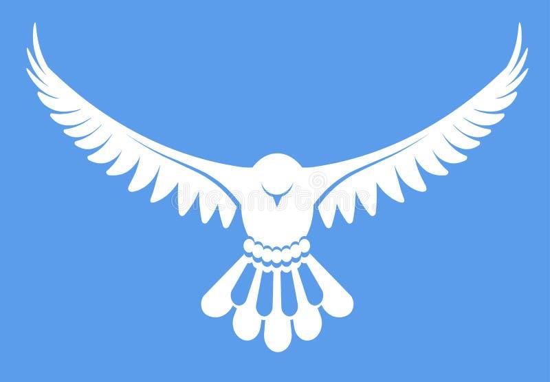 Wektorowa ilustracja prosty biały gołąb nurkował ptaka ilustracja wektor