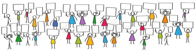 Wektorowa ilustracja protestujące kolorowe kij postacie, dzieci i nastolatkowie trzyma up puste deski, horyzontalny sztandar royalty ilustracja