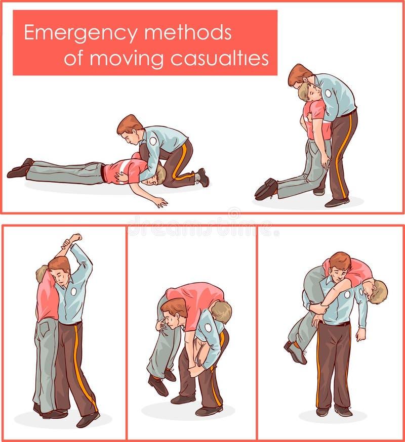 Wektorowa ilustracja przeciwawaryjne metody ruszać się ofiary wypadku ilustracji