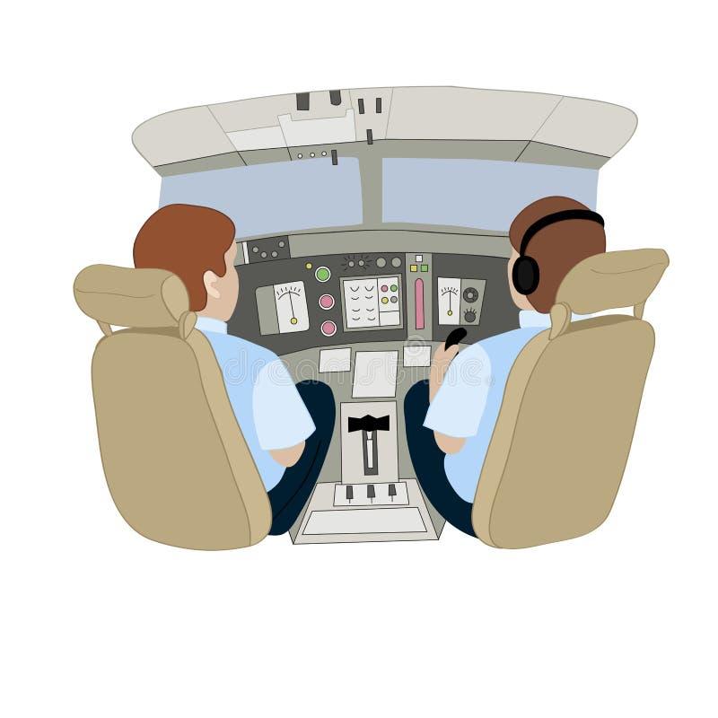 Wektorowa ilustracja przedstawia pilotów w samolocie od plecy royalty ilustracja