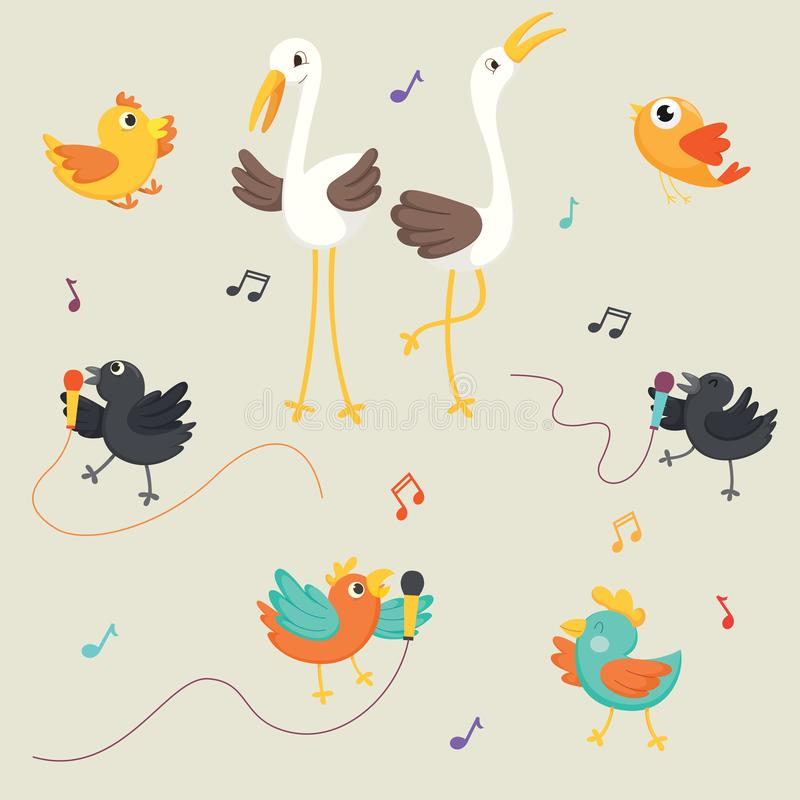 Wektorowa ilustracja ptaków Śpiewać royalty ilustracja