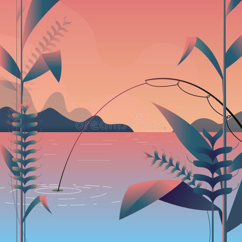 Wektorowa ilustracja purpury wśrodku i cień długo - nowożytny krajobraz z połowem, światło - Góry krajobrazowa natura Drzewo sztu royalty ilustracja