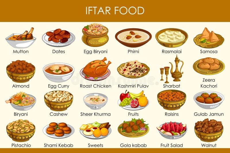Wektorowa ilustracja różny wyśmienicie jedzenie dla Ramadan Iftar jedzenia royalty ilustracja
