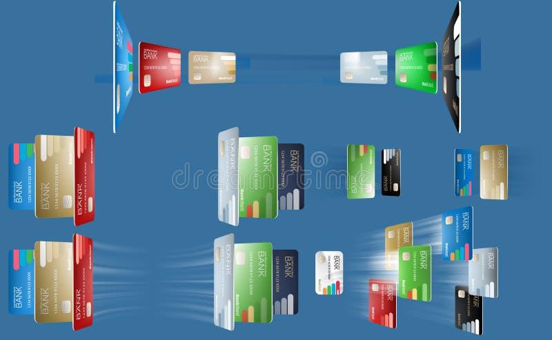 Wektorowa ilustracja różnorodne bank karty w różnych kątach, latające bank karty royalty ilustracja