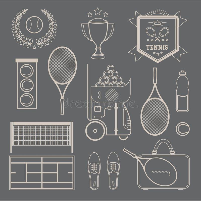 Wektorowe tenisowe ikony royalty ilustracja