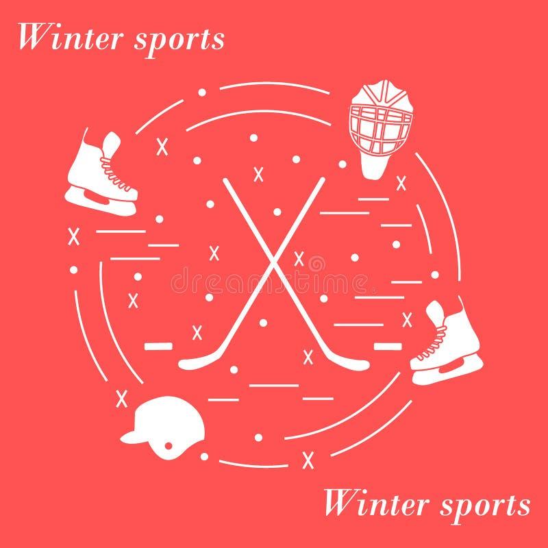 Wektorowa ilustracja różnorodni tematy dla hokeja układał w a ilustracja wektor