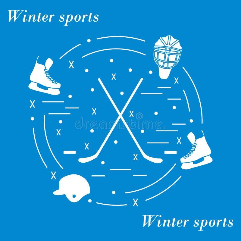 Wektorowa ilustracja różnorodni tematy dla hokeja układał w a royalty ilustracja