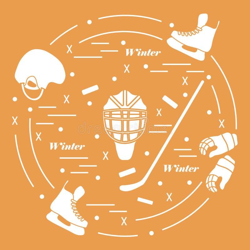 Wektorowa ilustracja różnorodni tematy dla hokeja Wliczając ic ilustracja wektor