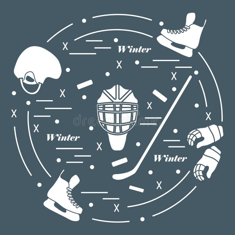 Wektorowa ilustracja różnorodni tematy dla hokeja Wliczając ic ilustracji