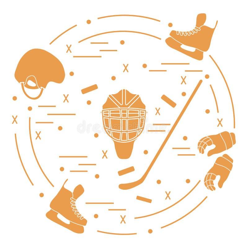 Wektorowa ilustracja różnorodni tematy dla hokeja Wliczając ic royalty ilustracja