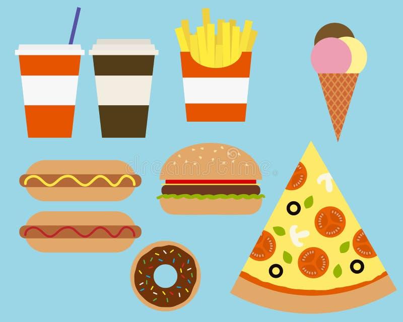Wektorowa ilustracja różnorodny Fastfood jedzenie i napoje, kostium ilustracja wektor