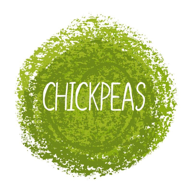 Wektorowa ilustracja, ręcznie pisany słów Chickpeas z teksturą ilustracji