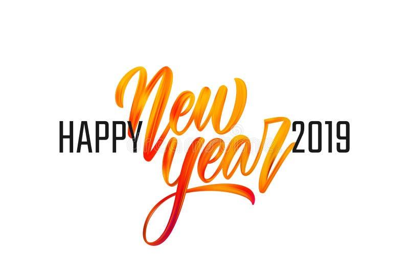 Wektorowa ilustracja: Ręcznie pisany szczotkarskiego uderzenia akrylowej farby czerwony literowanie Szczęśliwy nowy rok 2019 royalty ilustracja