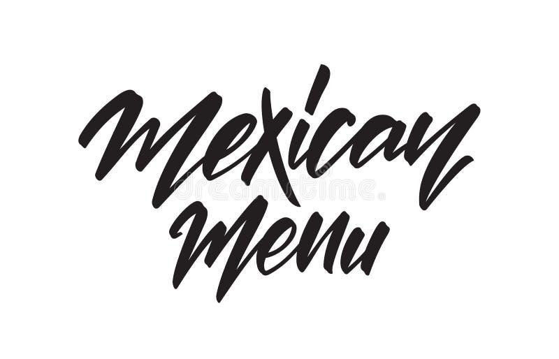 Wektorowa ilustracja: Ręcznie pisany typ literowanie Meksykański menu ilustracja wektor