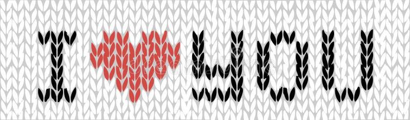 Wektorowa ilustracja ręcznie robiony trykotowy kocham ciebie tekst sieci sztandar w czarnym, czerwieni i bielu, szczęśliwy dzień  ilustracja wektor