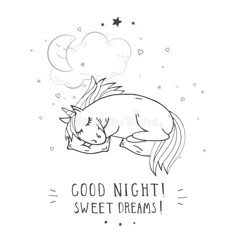 Wektorowa ilustracja ręka rysująca śliczna jednorożec z poduszką, księżyc, chmurą i tekstem, - COOD noc! SŁODCY sen! royalty ilustracja