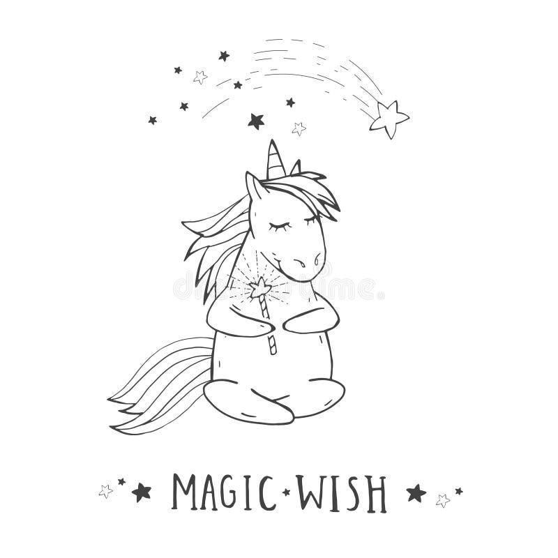 Wektorowa ilustracja ręka rysująca śliczna siedząca jednorożec z mknącą gwiazdą, magiczną różdżką i MAGICZNYM życzeniem na witki  ilustracja wektor