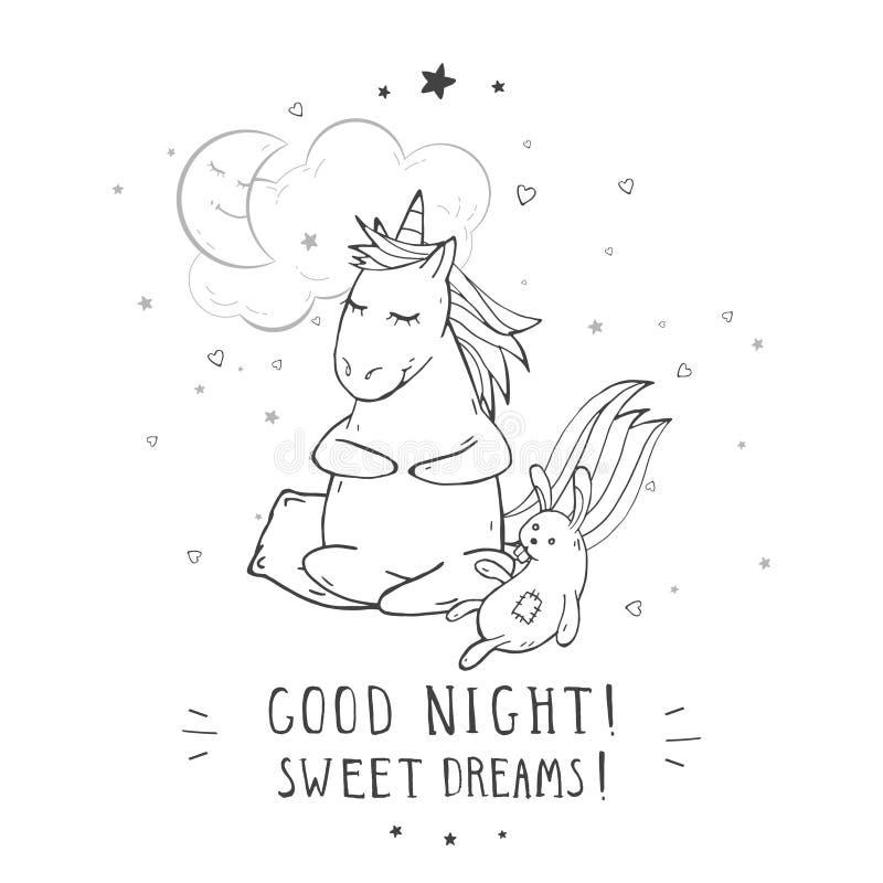 """Wektorowa ilustracja ręka rysująca śliczna siedząca jednorożec z zabawkarską królika, księżyc, chmury i teksta â€, """"COOD nocą! SŁ ilustracji"""