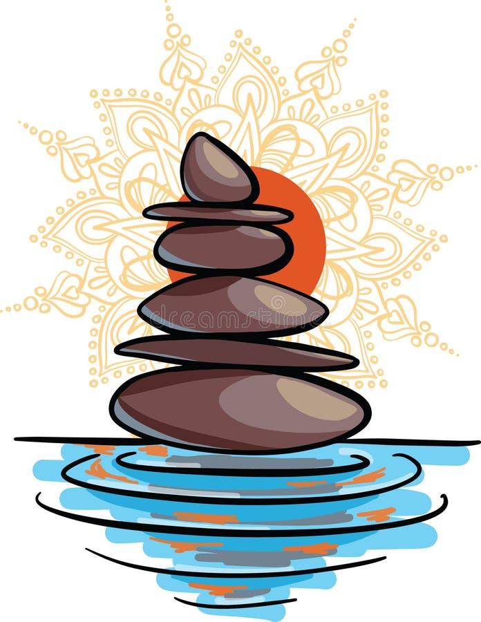Wektorowa ilustracja ręka rysujący cartooon nakreślenia równowagi kamienie na wodzie przy zmierzchem z pomarańczowym słońcem i ma royalty ilustracja