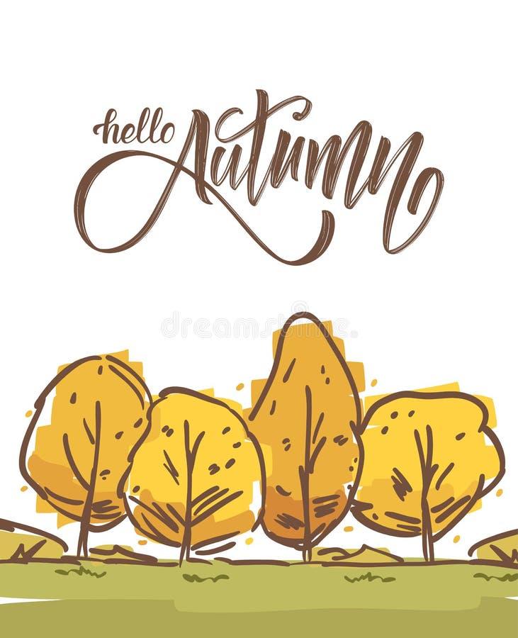 Wektorowa ilustracja: Ręka rysujący spadku krajobraz z nakreśleń drzewami i ręcznie pisany krzaka literowaniem jesień Cześć royalty ilustracja
