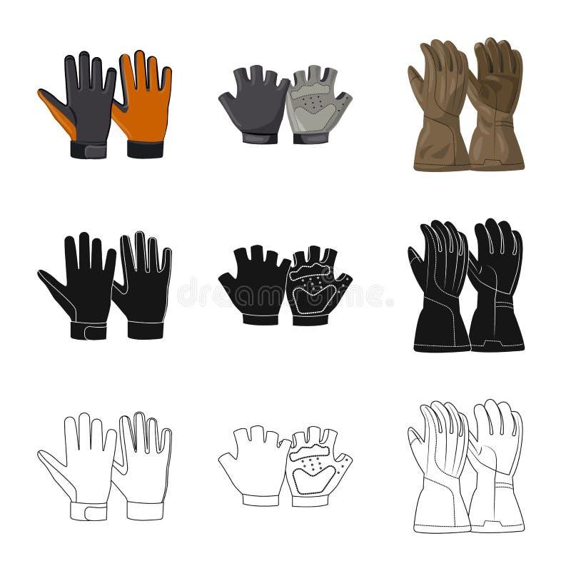 Wektorowa ilustracja rękawiczka i zima logo Kolekcja rękawiczki i wyposażenia wektorowa ikona dla zapasu ilustracji