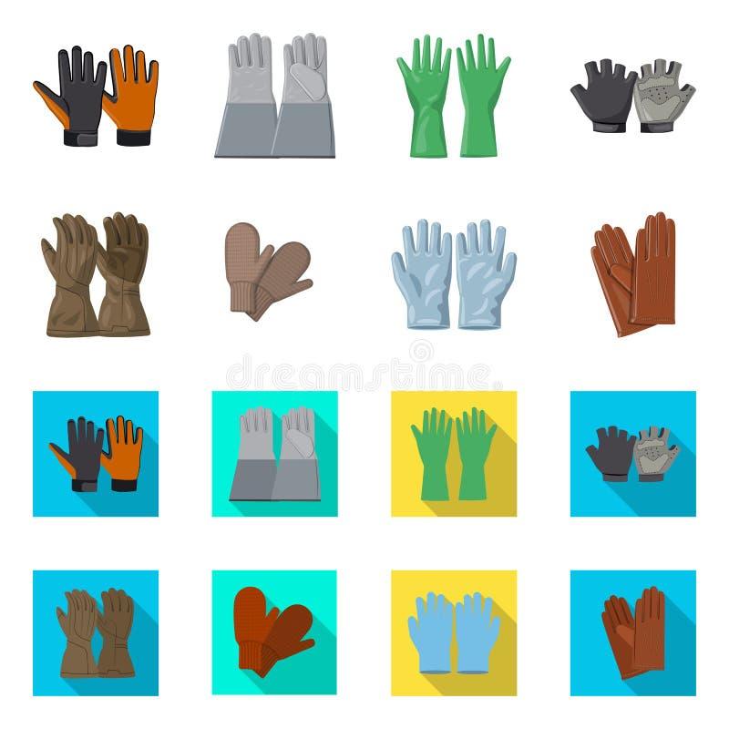 Wektorowa ilustracja rękawiczka i zima logo Set rękawiczki i wyposażenia wektorowa ikona dla zapasu royalty ilustracja