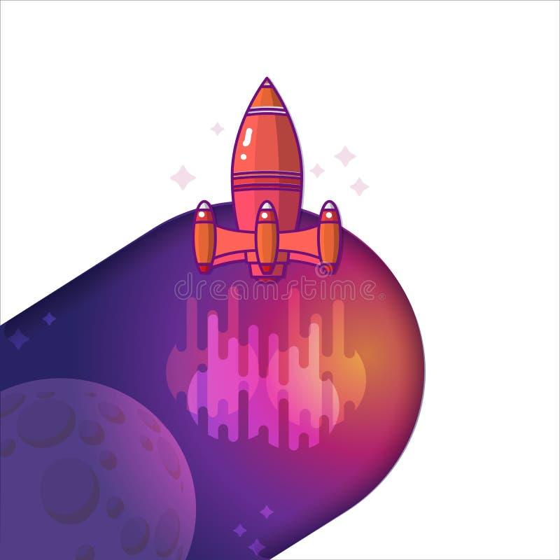 Wektorowa ilustracja rakieta Podróż kosmiczna księżyc ilustracji