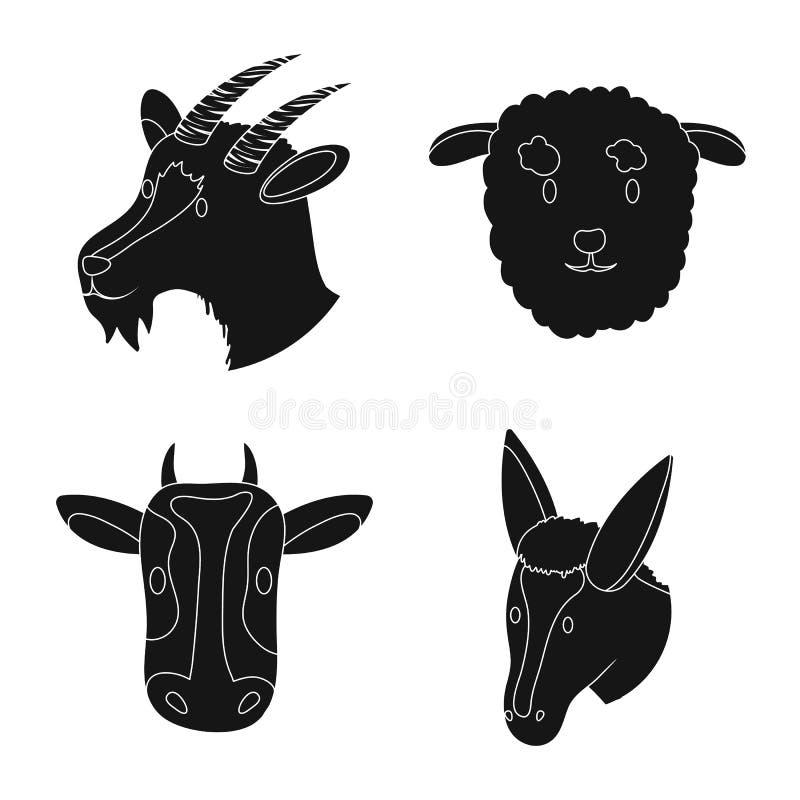 Wektorowa ilustracja rancho i organicznie znak Kolekcja rancho i g?owy wektorowa ikona dla zapasu royalty ilustracja