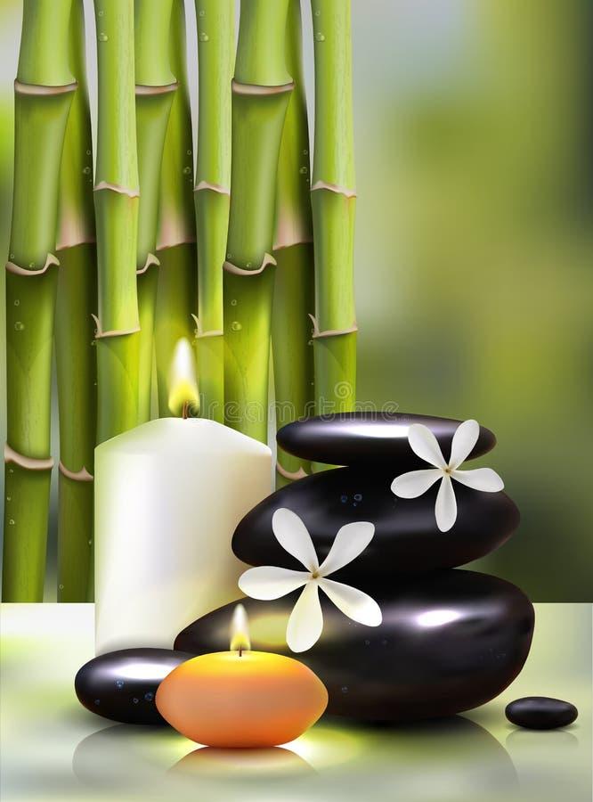 Wektorowa ilustracja realistyczny styl świeczki na tle bambusowi krótkopędy Znakomity zielony reklamowy plakat royalty ilustracja