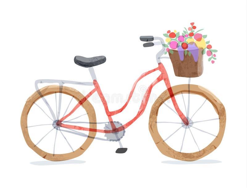 Wektorowa ilustracja retro bicykl ilustracja wektor
