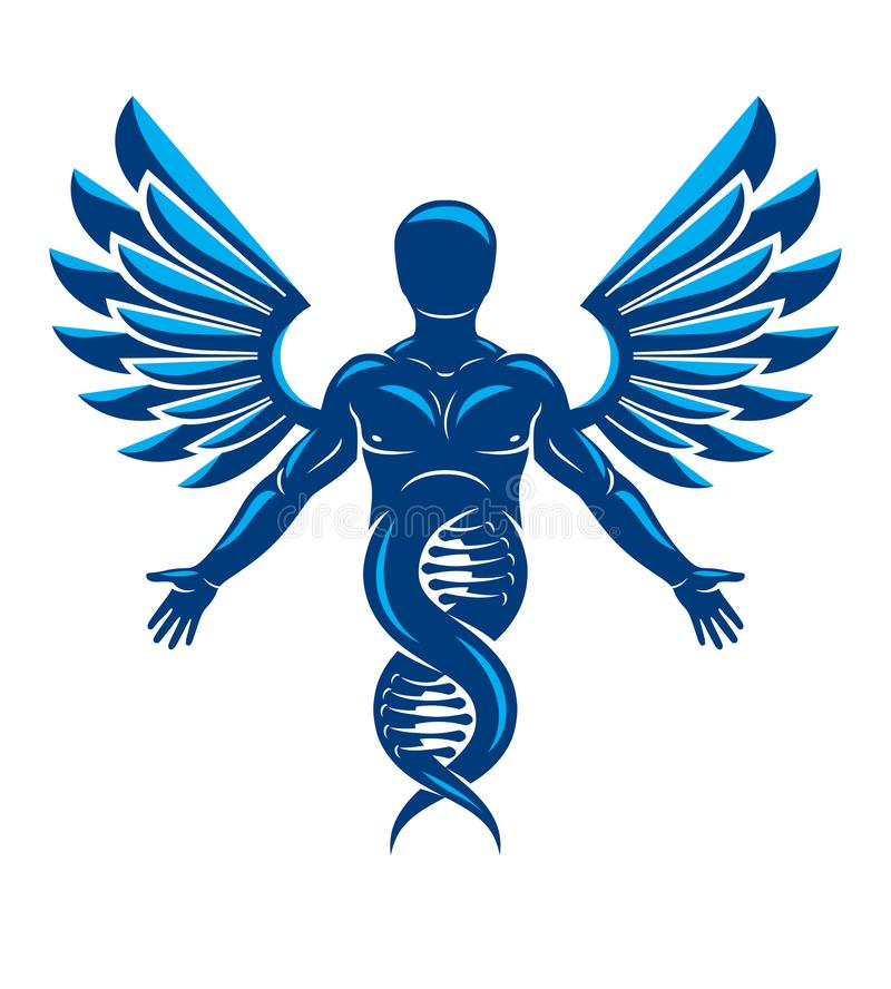 Wektorowa ilustracja robić jako DNA symbolu continuati silna samiec ilustracji