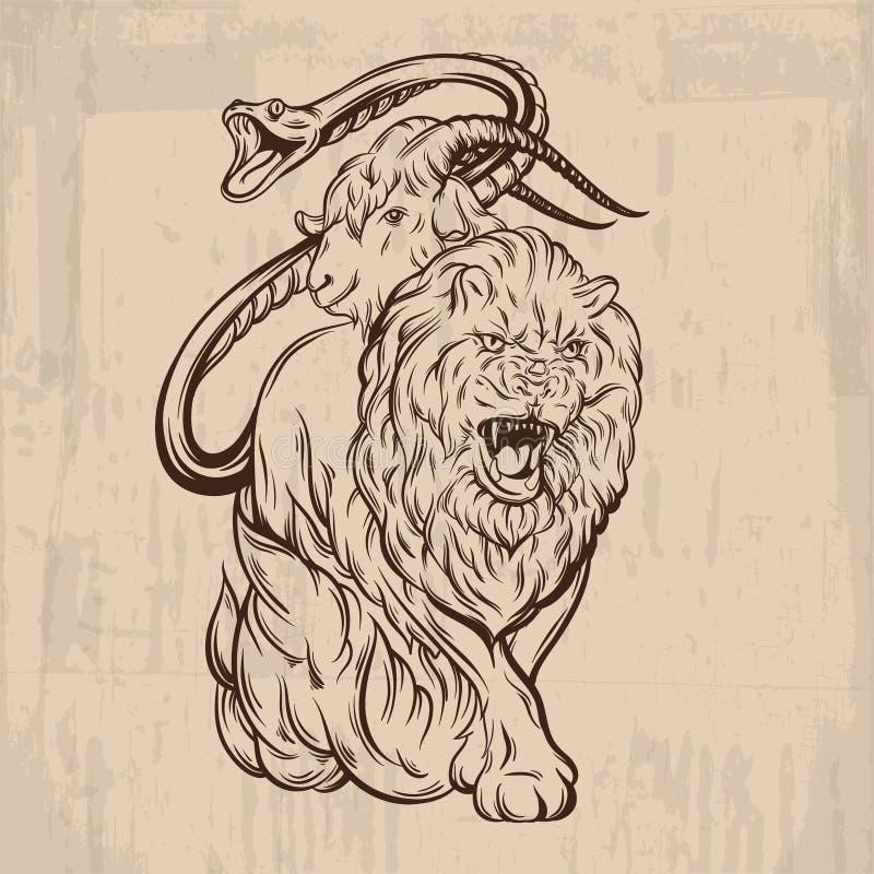 Wektorowa ilustracja robić w ręka rysującym stylu chimera royalty ilustracja