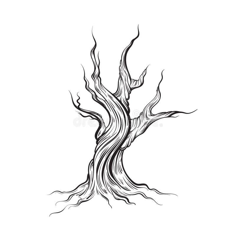 Wektorowa ilustracja robić w ręka rysującym stylu nieżywy drzewo ilustracji